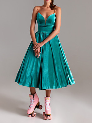 cheap Prom Dresses-A-Line Sexy Turquoise / Teal Wedding Guest Cocktail Party Dress V Neck Sleeveless Tea Length Polyester with Pleats 2020