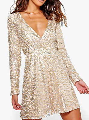 cheap Cocktail Dresses-A-Line Plus Size Gold Homecoming Party Wear Dress V Neck Long Sleeve Short / Mini Polyester with Sequin 2020