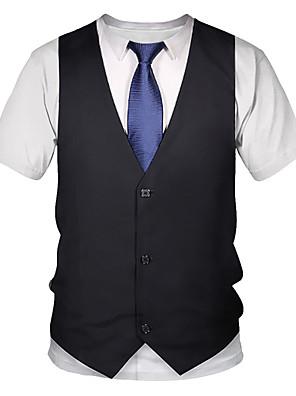 お買い得  メンズTシャツ&タンクトップ-男性用 Tシャツ 3D グラフィック プリント 半袖 トップの ストリートファッション パンク&ゴシック ラウンドネック ブラック / 夏 / クラブ