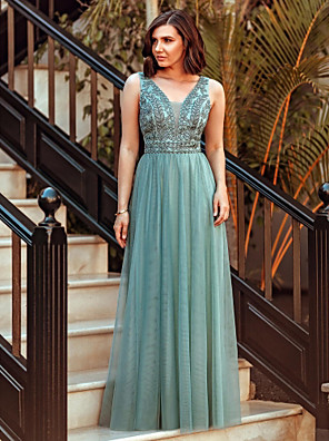 cheap Special Occasion Dresses-A-Line Elegant Prom Formal Evening Dress V Neck Sleeveless Floor Length Tulle with Crystals 2020