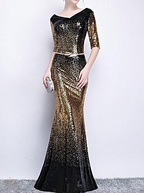 cheap Evening Dresses-Mermaid / Trumpet Sparkle Black Engagement Formal Evening Dress V Neck Half Sleeve Floor Length Polyester with Sash / Ribbon Sequin 2020