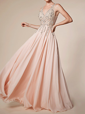 cheap Special Occasion Dresses-A-Line Empire Pink Engagement Prom Dress V Neck Sleeveless Floor Length Chiffon with Beading Sequin Appliques 2020