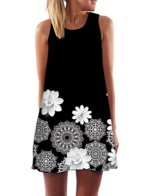 cheap Women's Dresses-Women's A Line Dress - Sleeveless Floral Black S M L XL XXL XXXL