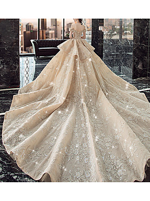 cheap Evening Dresses-Ball Gown Wedding Dresses Off Shoulder Watteau Train Lace Satin Tulle Cap Sleeve Formal Wedding Dress in Color Sparkle & Shine with Ruffles Lace Insert 2020