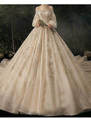 cheap Evening Dresses-Ball Gown Wedding Dresses Sweetheart Neckline Watteau Train Lace Long Sleeve Formal Wedding Dress in Color with 2020