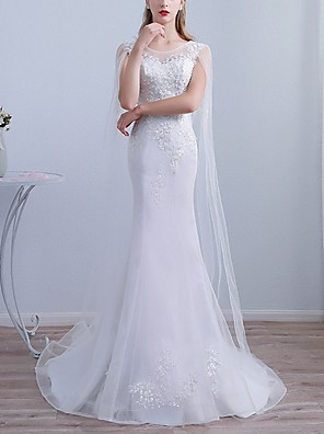 cheap Wedding Dresses-Mermaid / Trumpet Wedding Dresses Jewel Neck Sweep / Brush Train Lace Long Sleeve Beach Cape with Lace Insert Embroidery 2020