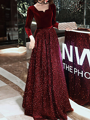 cheap Evening Dresses-A-Line Glittering Red Prom Formal Evening Dress Scoop Neck Long Sleeve Floor Length Sequined Velvet with Sequin 2020