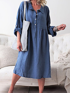 cheap Casual Dresses-Women's Shirt Dress Midi Dress - Long Sleeve Solid Color Shirt Collar Blue Purple Army Green Orange Khaki S M L XL XXL / Denim