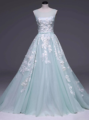 cheap Evening Dresses-Ball Gown Floral Turquoise / Teal Prom Formal Evening Dress Illusion Neck Sleeveless Court Train Lace with Beading Appliques 2020