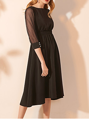 cheap Prom Dresses-A-Line Maternity Black Holiday Cocktail Party Dress Jewel Neck 3/4 Length Sleeve Knee Length Lace Satin with Buttons Pleats 2020