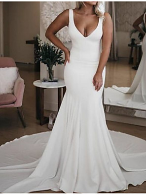 cheap Wedding Dresses-Mermaid / Trumpet Wedding Dresses Plunging Neck Court Train Stretch Satin Sleeveless Sexy Plus Size with Draping 2020