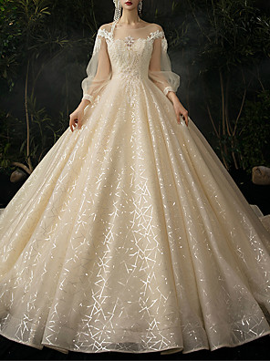 cheap Evening Dresses-Ball Gown Wedding Dresses Jewel Neck Watteau Train Lace Tulle Long Sleeve Formal Wedding Dress in Color with 2020