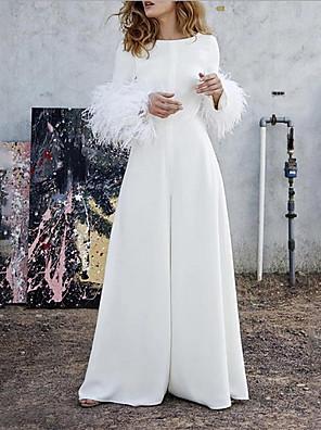 cheap Evening Dresses-Women's Basic White Jumpsuit Onesie, Solid Colored S M L