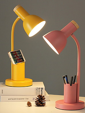 cheap Hand Tools-Nordic Style Desk Lamp Indoor Reading Light Metal Adjustable 90-240V Multifunction lamp with Pen Holder Yellow Desk Lamp Blush Pink Lamp Grass-green Lamp