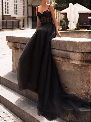 cheap Evening Dresses-A-Line Sexy Black Engagement Formal Evening Dress Sweetheart Neckline Sleeveless Court Train Tulle with Beading Sequin 2020