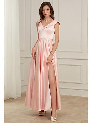 cheap Wedding Dresses-A-Line Pink Spring Party Wear Prom Dress V Neck Sleeveless Floor Length Satin with Beading Split 2020
