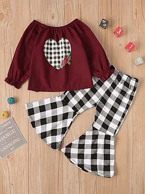 cheap Girls' Dresses-Baby Girls' Basic Geometric Long Sleeve Regular Clothing Set Wine