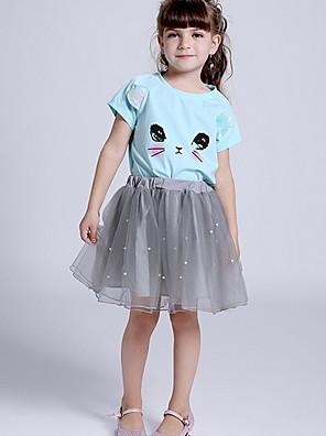 cheap Girls' Dresses-Kids Girls' Basic Color Block Short Sleeve Clothing Set Blushing Pink