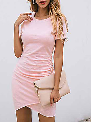 cheap Mini Dresses-Women's Sheath Dress - Short Sleeves Solid Color Asymetric Hem Summer Casual Daily Slim 2020 Wine White Black Blue Blushing Pink Green S M L XL XXL
