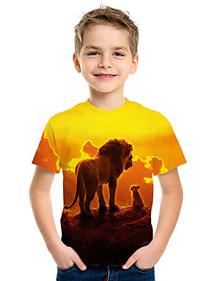 cheap Boys' Tops-Kids Boys' Active Street chic Lion 3D Animal Print Short Sleeve Tee Yellow