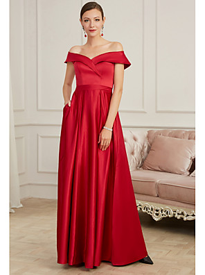 cheap Prom Dresses-A-Line Elegant Red Party Wear Prom Dress Off Shoulder Sleeveless Floor Length Satin with Pleats 2020