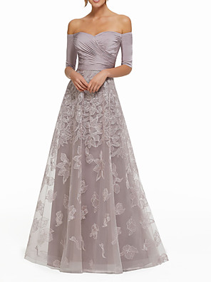 cheap Mother of the Bride Dresses-A-Line Sexy Purple Wedding Guest Formal Evening Dress Off Shoulder Half Sleeve Floor Length Lace with Ruched Appliques 2020