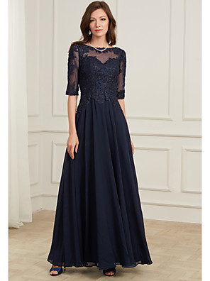 cheap Evening Dresses-A-Line Elegant Blue Wedding Guest Formal Evening Dress Jewel Neck Half Sleeve Floor Length Tulle Polyester with Appliques 2020