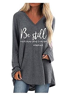 cheap Women's T-shirts-Women's Plus Size T-shirt Letter Loose Tops Cotton V Neck Wine Black Camel