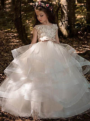 cheap Junior Bridesmaid Dresses-Princess Sweep / Brush Train Communion Dresses - Polyester / Tulle Sleeveless Jewel Neck with Pick Up Skirt / Solid