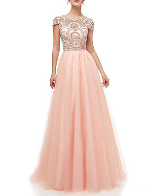 cheap Wedding Dresses-A-Line Luxurious Engagement Formal Evening Dress Jewel Neck Short Sleeve Floor Length Polyester with Crystals Beading 2020