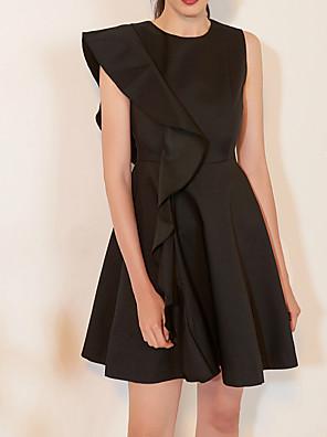 cheap Prom Dresses-A-Line Little Black Dress Black Homecoming Cocktail Party Dress Jewel Neck Sleeveless Short / Mini Satin with Ruffles 2020