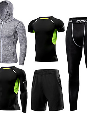 cheap Evening Dresses-1bests Men's Full Zip Activewear Set Workout Outfits Compression Suit 5pcs Winter Running Basketball Fitness Lightweight Breathable Quick Dry Sportswear Compression Clothing Clothing Suit Long Sleeve