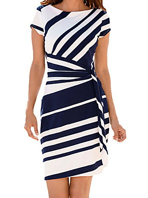 cheap Women's Dresses-Women's Sheath Dress - Short Sleeves Striped Off Shoulder Slim Black Blue Red S M L XL