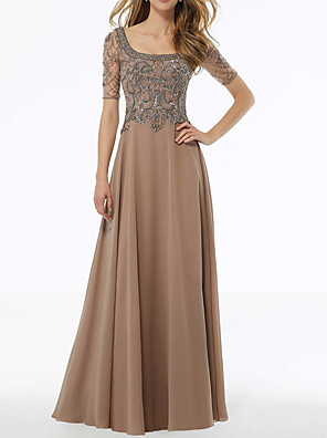 cheap Prom Dresses-A-Line Elegant Gold Wedding Guest Formal Evening Dress Scoop Neck Short Sleeve Floor Length Chiffon with Beading Appliques 2020