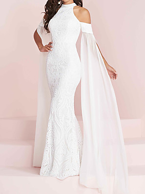 cheap Wedding Dresses-Mermaid / Trumpet Wedding Dresses Halter Neck Floor Length Polyester Short Sleeve Country Plus Size with Appliques 2020