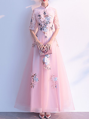 cheap Prom Dresses-A-Line Chinese Style Pink Prom Formal Evening Dress High Neck Half Sleeve Floor Length Tulle with Embroidery Appliques 2020