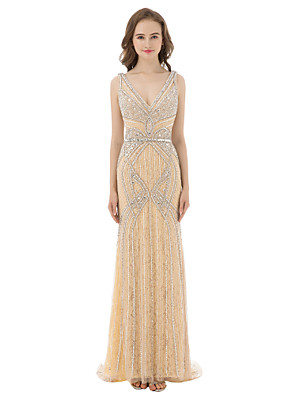 cheap Prom Dresses-Sheath / Column Luxurious Sexy Prom Formal Evening Dress V Neck Sleeveless Floor Length Tulle with Beading Sequin 2020