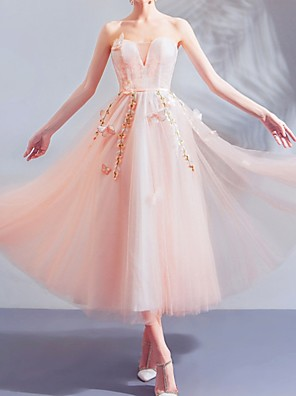 cheap Cocktail Dresses-A-Line Floral Pink Engagement Cocktail Party Dress Strapless Sleeveless Tea Length Tulle with Appliques 2020