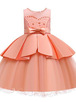 cheap Girls' Dresses-Kids Girls' Active Cute Solid Colored Peplum Beaded Bow Sleeveless Knee-length Dress White