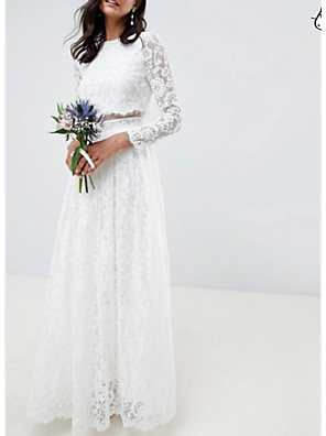 cheap Wedding Dresses-Two Piece A-Line Wedding Dresses Jewel Neck Floor Length Lace Polyester Long Sleeve Casual Boho Plus Size with Draping 2020