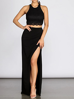 cheap Prom Dresses-Two Piece Sexy Black Party Wear Prom Dress Jewel Neck Sleeveless Floor Length Polyester with Pleats Split 2020