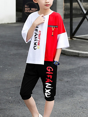 cheap Boys' Tops-Kids Boys' Basic Daily Wear Black & White Print Color Block Patchwork Short Sleeve Regular Regular Clothing Set Red