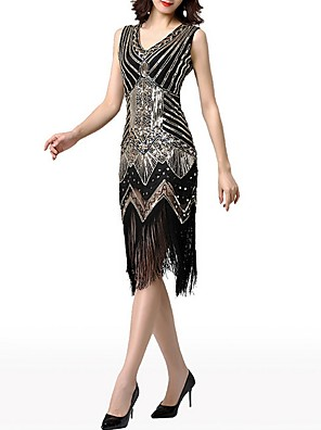 cheap Cocktail Dresses-Sheath / Column Roaring 20s 1920s Fashion Party Wear Cocktail Party Dress V Neck Sleeveless Knee Length Polyester with Crystals Tassel 2020