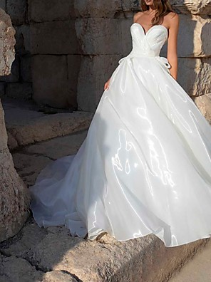 cheap Wedding Dresses-A-Line Wedding Dresses Sweetheart Neckline Sweep / Brush Train Polyester Sleeveless Country Plus Size with Bow(s) 2020