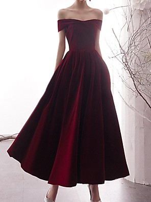 cheap Prom Dresses-A-Line Minimalist Red Prom Formal Evening Dress Off Shoulder Short Sleeve Ankle Length Polyester with Pleats 2020