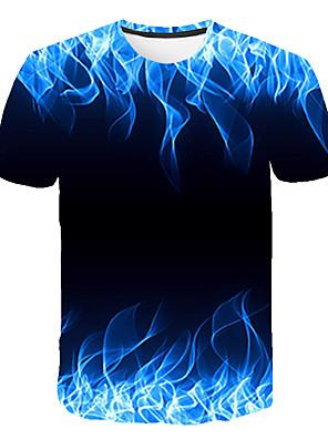 billige Pigetoppe-Børn Drenge Basale Gade Farveblok 3D Regnbue Trykt mønster Kortærmet T-shirt Regnbue