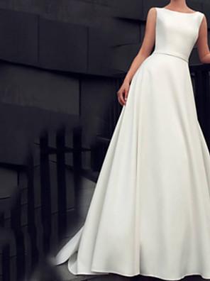 cheap Wedding Dresses-A-Line Wedding Dresses Jewel Neck Floor Length Satin Sleeveless Beach with Sashes / Ribbons 2020