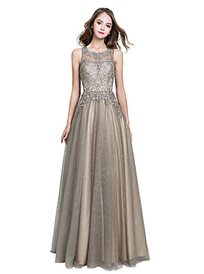 cheap Prom Dresses-A-Line Luxurious Grey Prom Formal Evening Dress Jewel Neck Sleeveless Floor Length Tulle with Crystals Appliques 2020