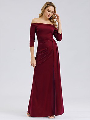 cheap Evening Dresses-Mermaid / Trumpet Maternity Red Wedding Guest Formal Evening Dress Off Shoulder 3/4 Length Sleeve Floor Length Polyester with Split 2020