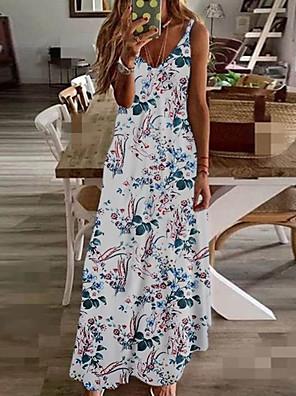 cheap Romantic Lace Dresses-Women's Maxi A Line Dress - Sleeveless Floral Summer V Neck Plus Size Holiday Vacation Beach Wine Rainbow White Black Blue Yellow Fuchsia Green Navy Blue Green / White S M L XL XXL XXXL XXXXL XXXXXL